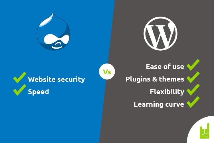 a chart comparing the abilites of Drupal vs WordPress
