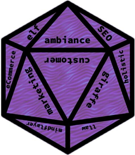 d20 dice with random words instead of numbers